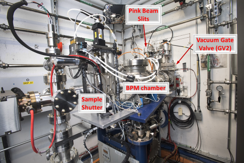 The XFP PDS is contained in a large vacuum chamber, where beam proceeds from right to left, passing through a set of pink beam slits, a BPM, and can be blocked by a pneumatic sample shutter.