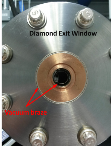 View of the clear diamond exit window that is bonded to a vacuum flange.