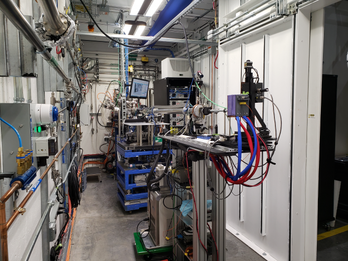 Image of machinery in the XFP beamline facility.