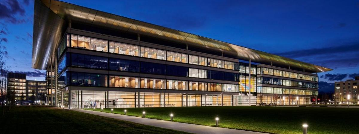 photo of Health Education Campus at night