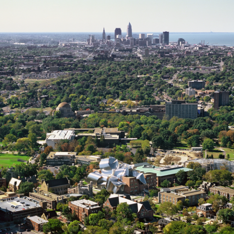 Image of arial view case western reserve university campus looking toward downtown cleveland and lake erie