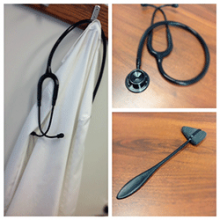 A collage of three images showing stethoscopes and a reflex hammer.