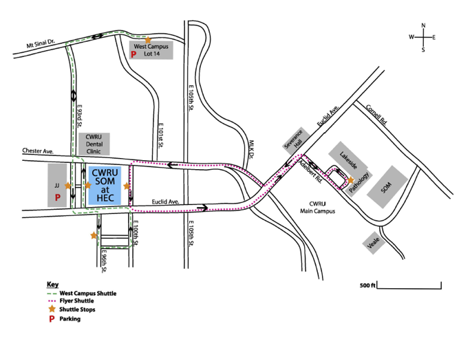 Map of the Health Education Campus and JJ parking garage