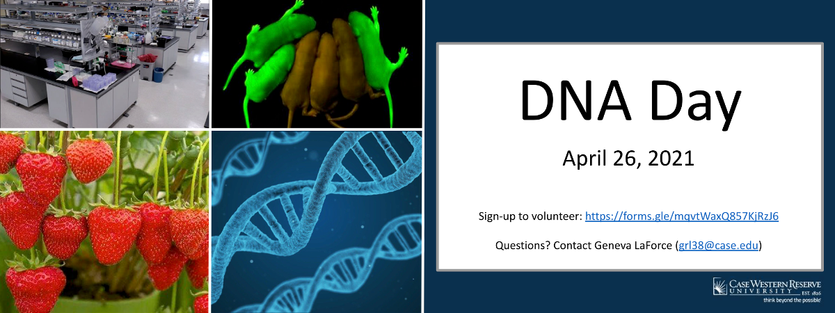 Image of DNA helix, lab space, and strawberries with text advertising DNA day 2021 is April 26.