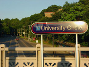a sign for university circle in Cleveland