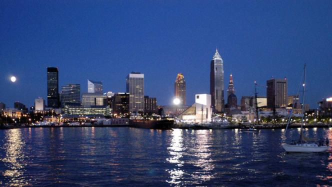 Downtown Cleveland, Ohio viewed from across Lake Erie
