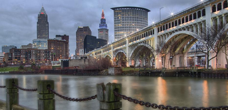 Image of Downtown Cleveland Ohio USA skyline as seen from the Cuyahoga River