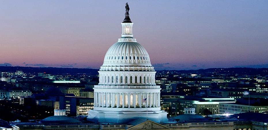 Image of nighttime Washington DC USA looking onto the State Capitol Building dome