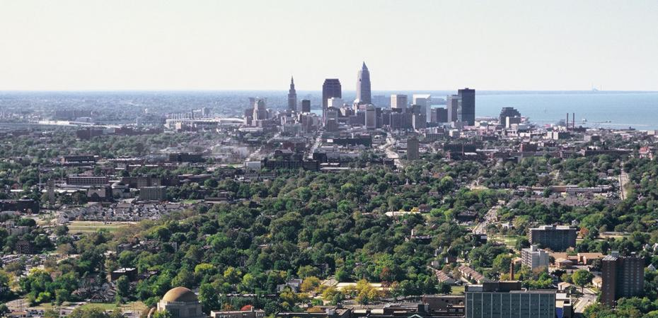 Aerial view of downtown Cleveland from CWRU