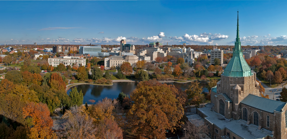 Aerial view of CWRU campus from Judson Manor
