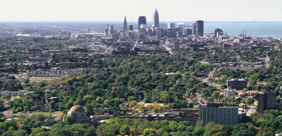 Aerial view of Case Western Reserve University campus with Downtown Cleveland in distance