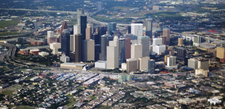 Aerial photo taken of downtown Houston Texas