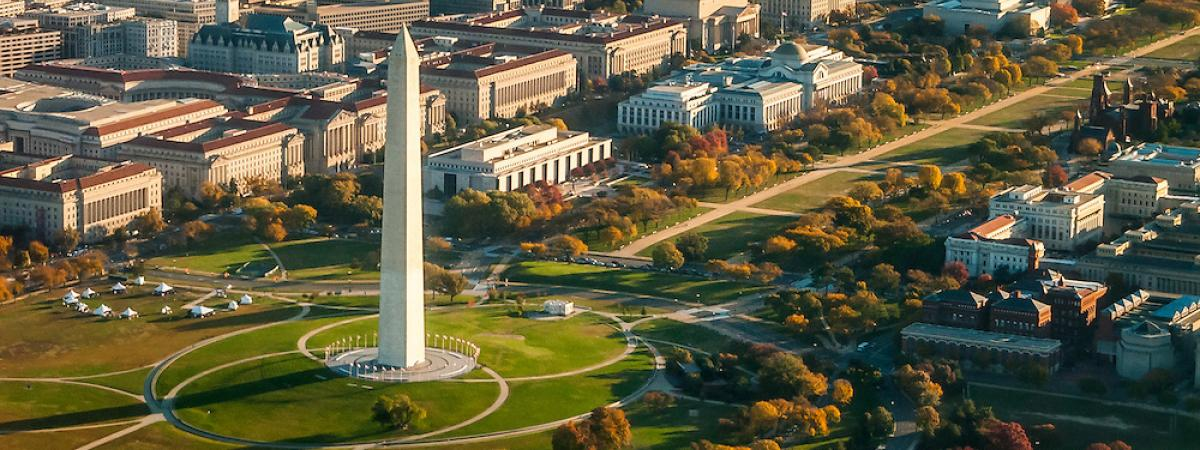 View of the Washington Monument in Washington, D.C. from the sky