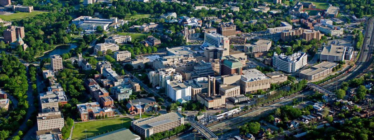 View of Case Western Reserve University campus from the sky