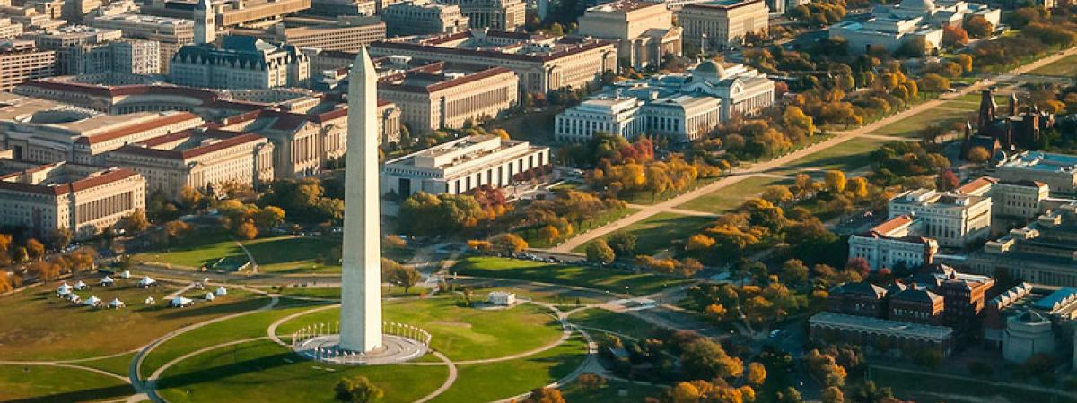 Washington Monument in Washington, D.C. viewed from the sky