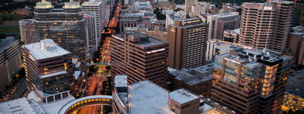 Texas Medical Center in Houston, Texas viewed from the sky