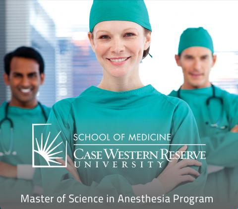 Image of three Anesthesiologists in green scrubs with one in the foreground and two in the background