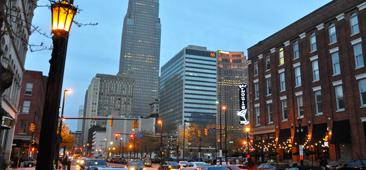 Image of street view of downton Cleveland Ohio USA Key Bank Building in the background