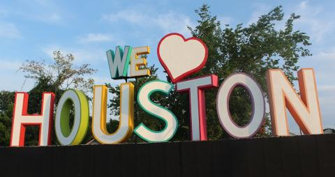 We love Houston sign in Houston, Texas