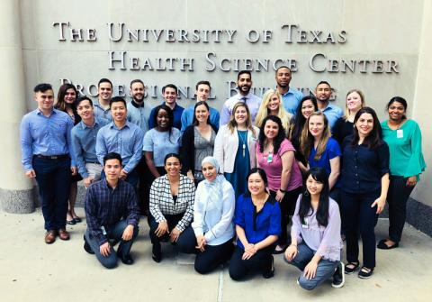 Group photo of Master of Science in Anesthesia students standing at the University of Texas Health Science Center in Houston