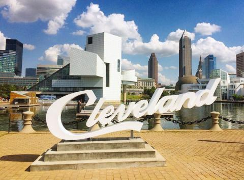 Photo of Cleveland script sign located in North Coast Harbor in Downtown Cleveland, Ohio