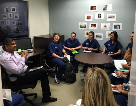 Certified anesthesiologist assistant students in lecture in Washington, D.C. classroom