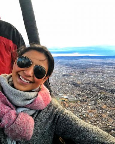 Female anesthesiologist assistant in hot air balloon