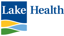 Lake Health logo with blue, yellow, light blue, green rectangle design