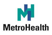 MetroHealth Logo with interlocking green and blue M and H design