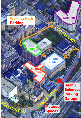 map of parking at CWRU SOM