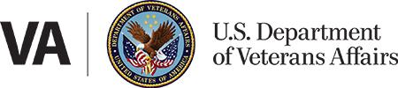 Image of logo for VA Medical Center, an uppercase VA in black, followed by a black vertical line, then a seal with a black and gold trim within which says Department of Veterans Affairs United States of America, with an eagle carrying two flags below five stars.  The logo is followed by the text U.S. Department of Veterans Affairs
