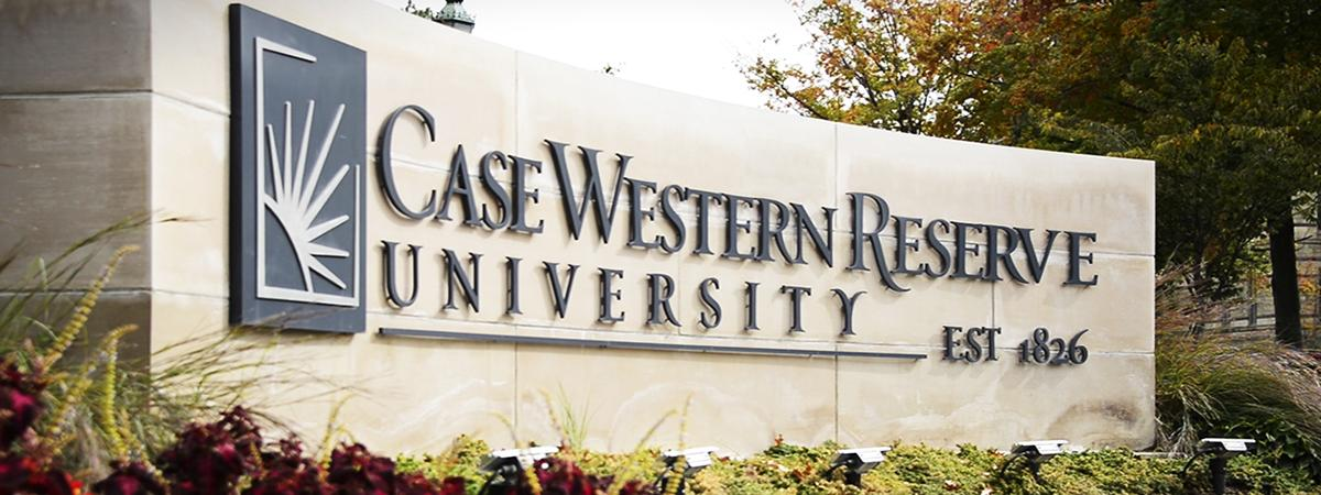 Image of Case Western Reserve University logo on stone monument