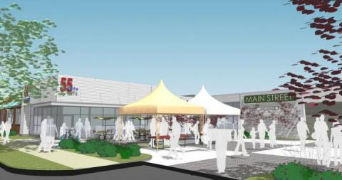 computer rendering of an outdoor food hub and market