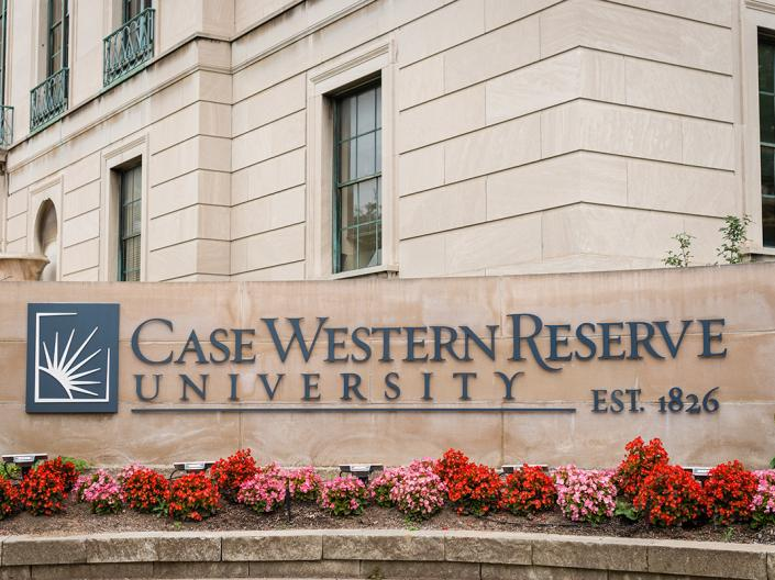 An image of the Case Western Reserve University sign