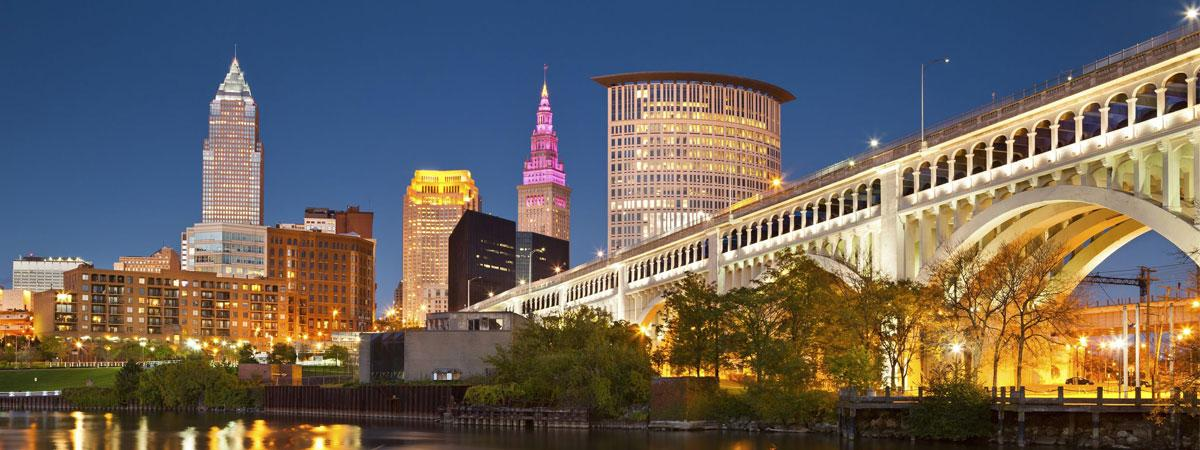 nighttime view of downtown Cleveland Ohio