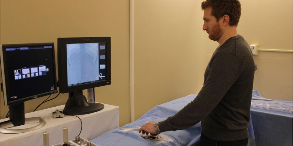 Image of person using the IR Simulator.