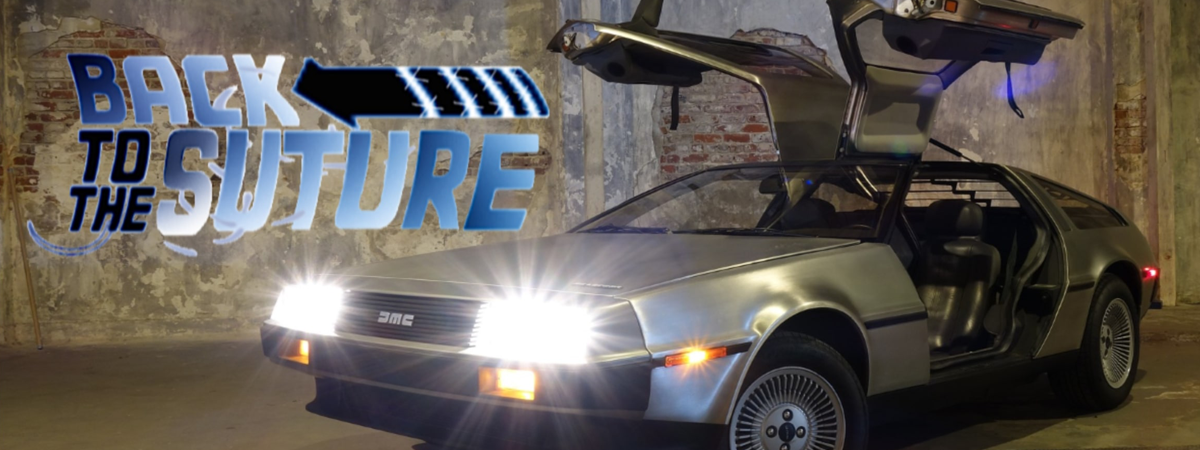 2018 Doc Opera: Back to the Suture parody promotional image with DeLorean