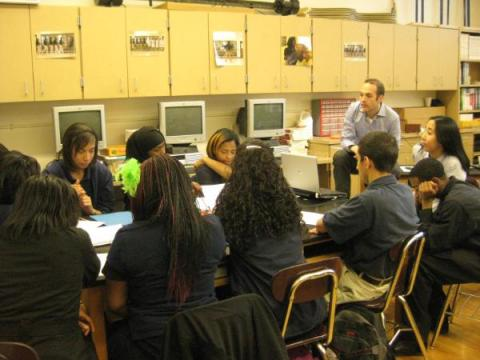 Jason Balkman leads a group of students through a medical case study in 2009.