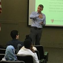 Pediatric cardiologist, Dr. James Strainic, gives the Cleveland School of Science and Medicine junior class the opening lecture of the 2017 Cardiovascular Inquiry Seminar Series.
