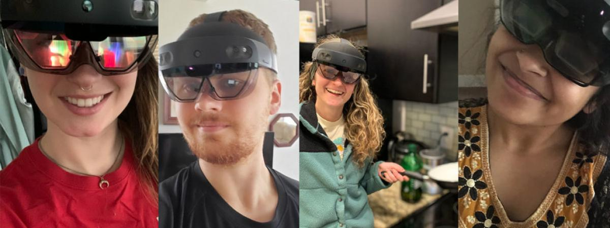 Four student selfies with HoloLens