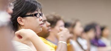 CWRU students listening to a lecture during class