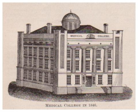 Drawing of original medical college in 1846