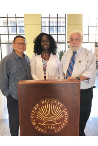 image of Li Li, MD, PhD (left), Monica Webb Hooper, PhD, and Nathan A. Berger, MD (right)