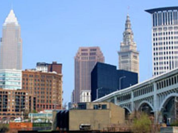 Downtown Cleveland on a sunny day