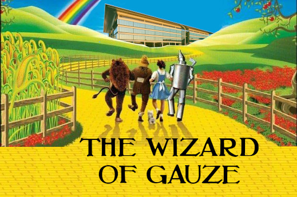 "Doc Opera banner 2019 ""The Wizard of Gauze"". A lion, a scarecrow, a girl and a tin man skip arms linked down a yellow brick road with a dog following."