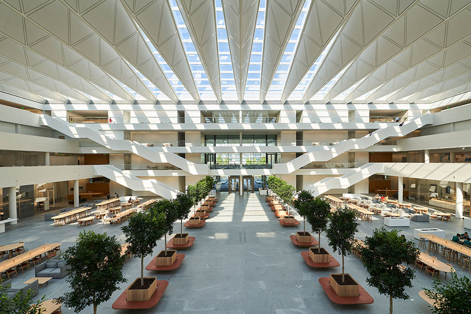 View of the central atrium at the Health Education Campus at Case Western Reserve University
