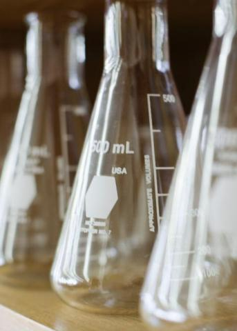 Photo of three lab beakers lined up on a shelf.