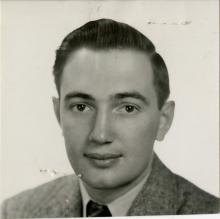 Black and white photo of Russell Swansburg from the 1950s.