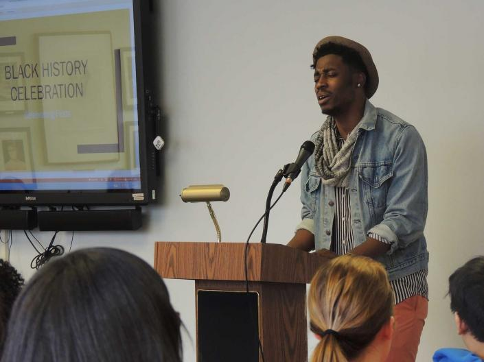 A musical performance at the 2018 Black History Month Celebration event at the Frances Payne Bolton School of Nursing at Case Western Reserve University in Cleveland, Ohio.