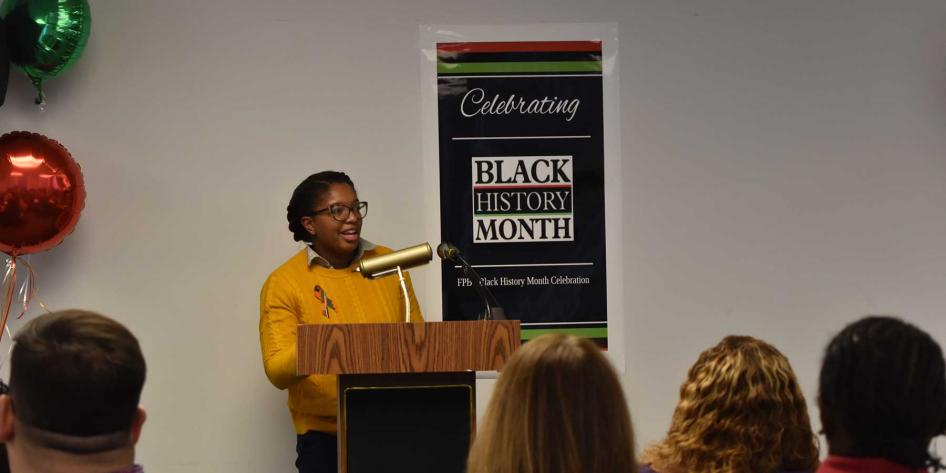 Faculty and staff celebrate at the 2019 Black History Month Celebration at the Frances Payne Bolton School of Nursing at Case Western Reserve University in Cleveland, Ohio.